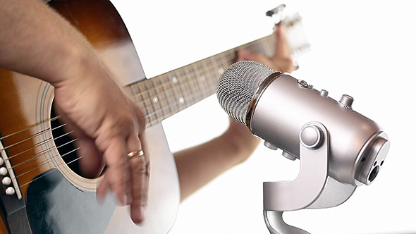 Audio Microphone And Guitar in Studio 15
