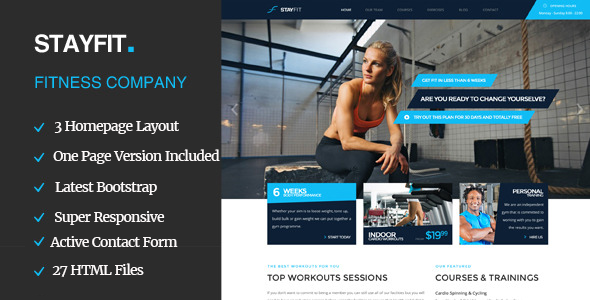 ThemeForest Stayfit Sports Health Gym & Fitness Theme 11834485