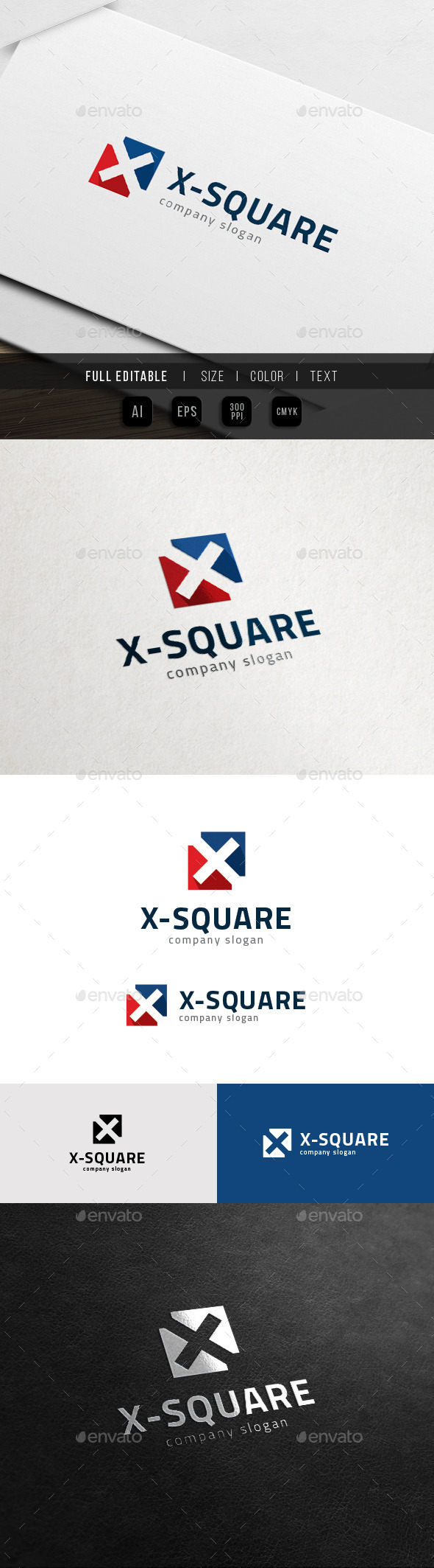 GraphicRiver X Logo Square Cross Sport 11899212