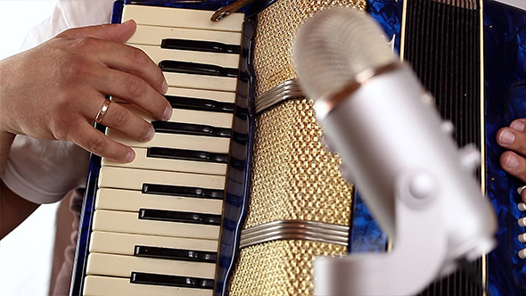 Fingers on Retro Piano Accordion 03