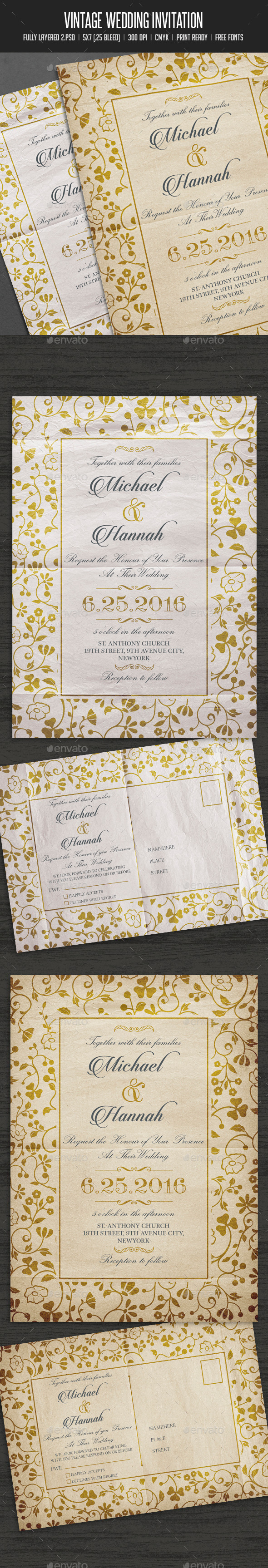 GraphicRiver Vintage Wedding Invitation Card 11902131