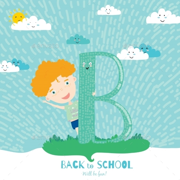 GraphicRiver Back To School Notes With Smiling Happy Kids 11902372