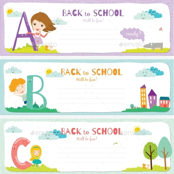 GraphicRiver Back To School Notes With Smiling Happy Kids 11902378