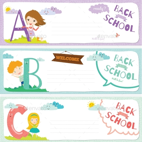 GraphicRiver Back To School Notes With Smiling Happy Kids 11902380