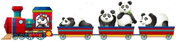 GraphicRiver Panda and Train 11902501
