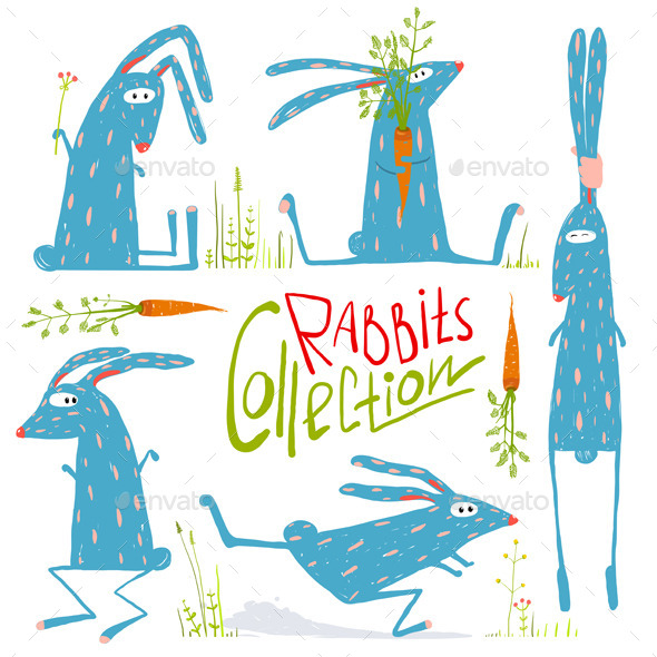GraphicRiver Cartoon Rabbits Animals Collection for Kids 11902599