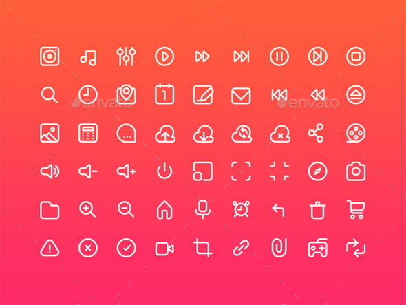 GraphicRiver 54 Multimedia Stroke Icons 11902731