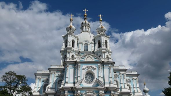 Smolny Cathedral St Petersburg time-lapse