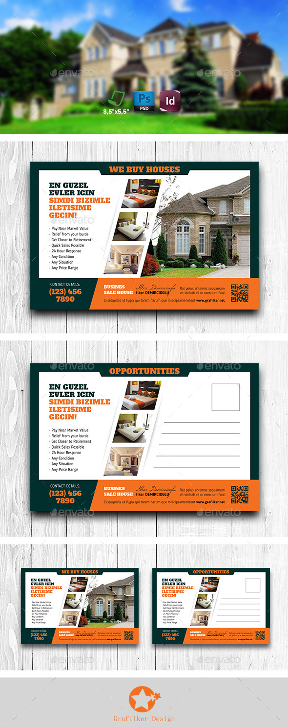 GraphicRiver Real Estate Postcard Templates 11902988