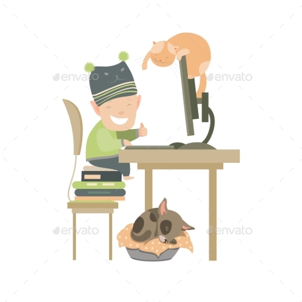 GraphicRiver Little Boy Sitting At Computer 11903333