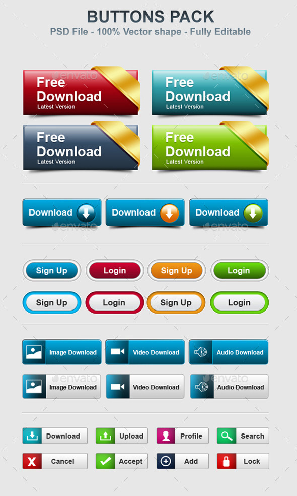 GraphicRiver Buttons Pack 11903403