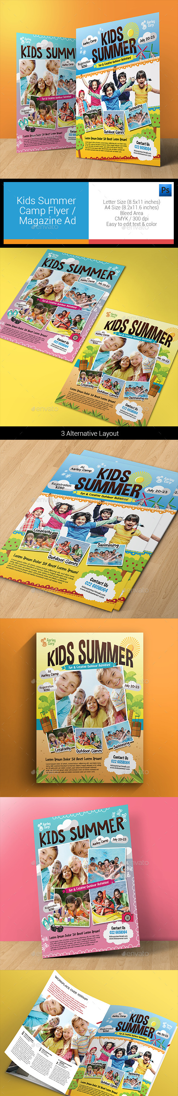 GraphicRiver Kids Summer Camp Flyers Magazine Ad 11903465