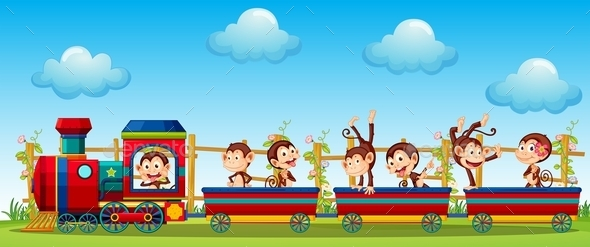 GraphicRiver Monkey and Train 11903502