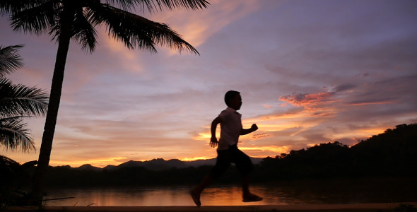 VideoHive Kid Running In The Sunset 11903506
