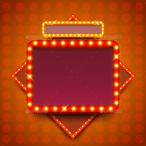GraphicRiver Retro Poster with Neon Lights Square Board Vector 11904035