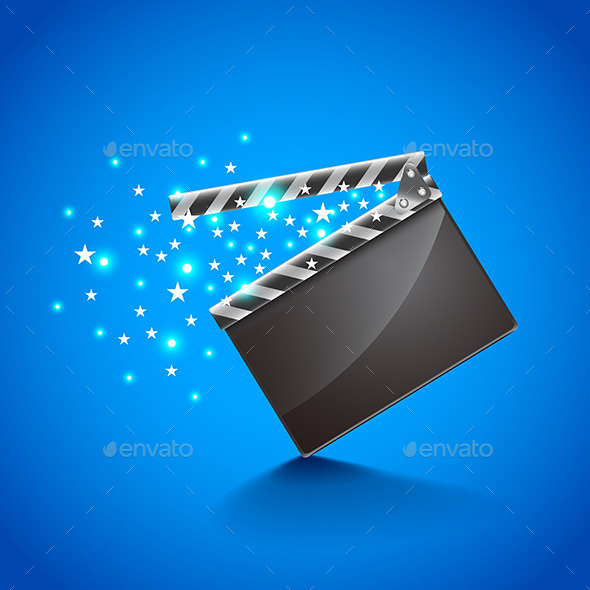 GraphicRiver Movie Clapper Board on Blue Background Vector 11904088