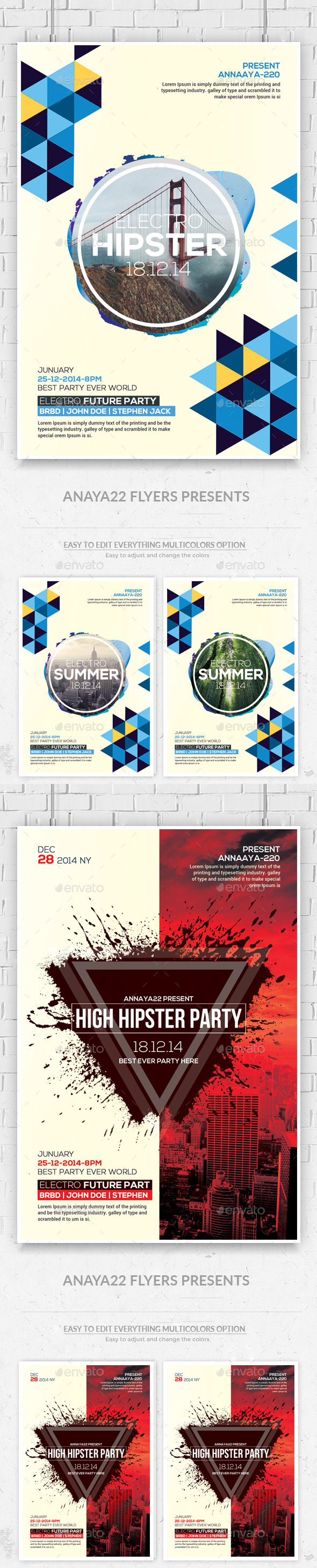 GraphicRiver Hipster Party Flyers Bundle 11904371