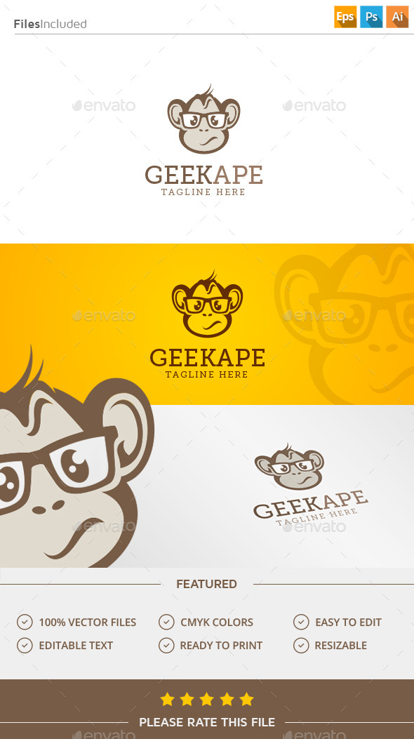 GraphicRiver Geek Monkey Logo 11904586