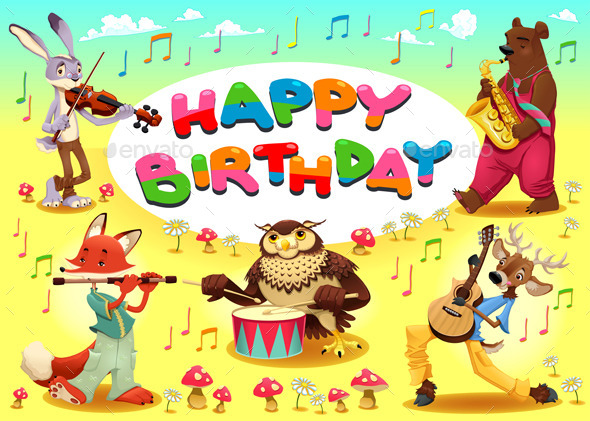 GraphicRiver Happy Birthday Card with Musician Animals 11905601