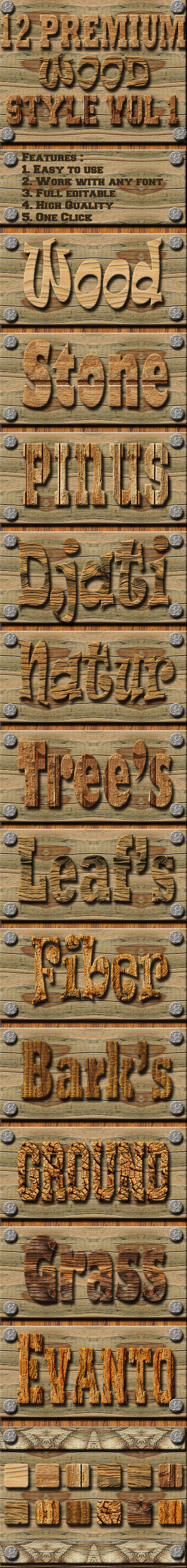 GraphicRiver 12 Wood Text Effect Style Vol 1 11905630