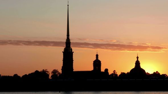 Peter and Paul Fortress On Sunset