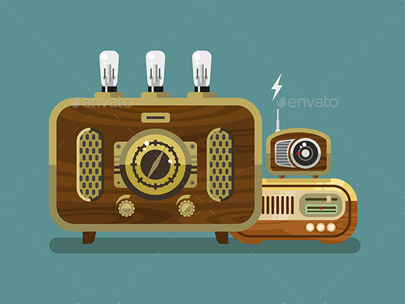 GraphicRiver Vintage Radios In Flat Style 11906074