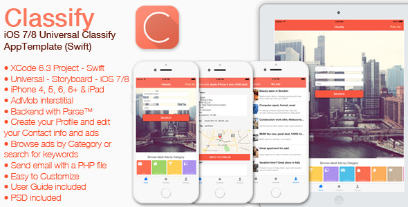 Classify - iOS 7/8 Universal Classifieds App Template (Swift)