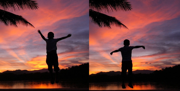 VideoHive Kid Jumping In Sunset 11906608