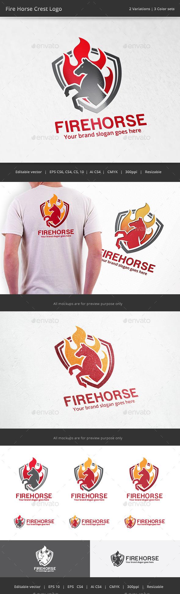 GraphicRiver Fire Horse Crest Logo 11906940