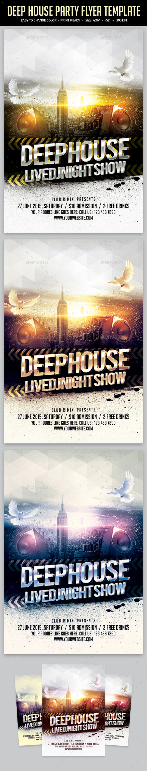 GraphicRiver Deep House Party Flyer Template 11906948
