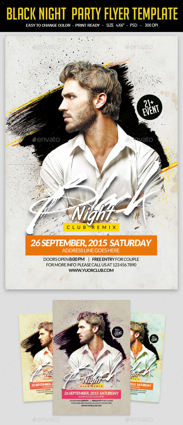 GraphicRiver Black Night Party Flyer Template 11907517