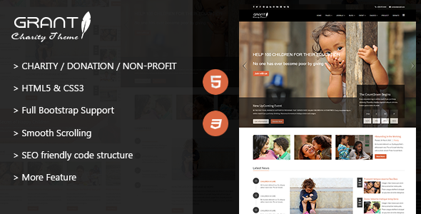 ThemeForest Grant Charity Nonprofit NGO HTML5 Template 11792188