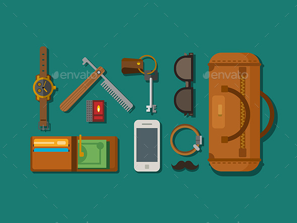 GraphicRiver Hipster Elements Laying on Surface 11907681