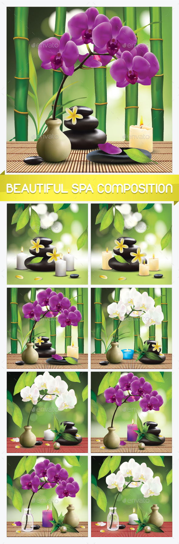 GraphicRiver 8 Spa Compositions with Orchid Flower 11908710