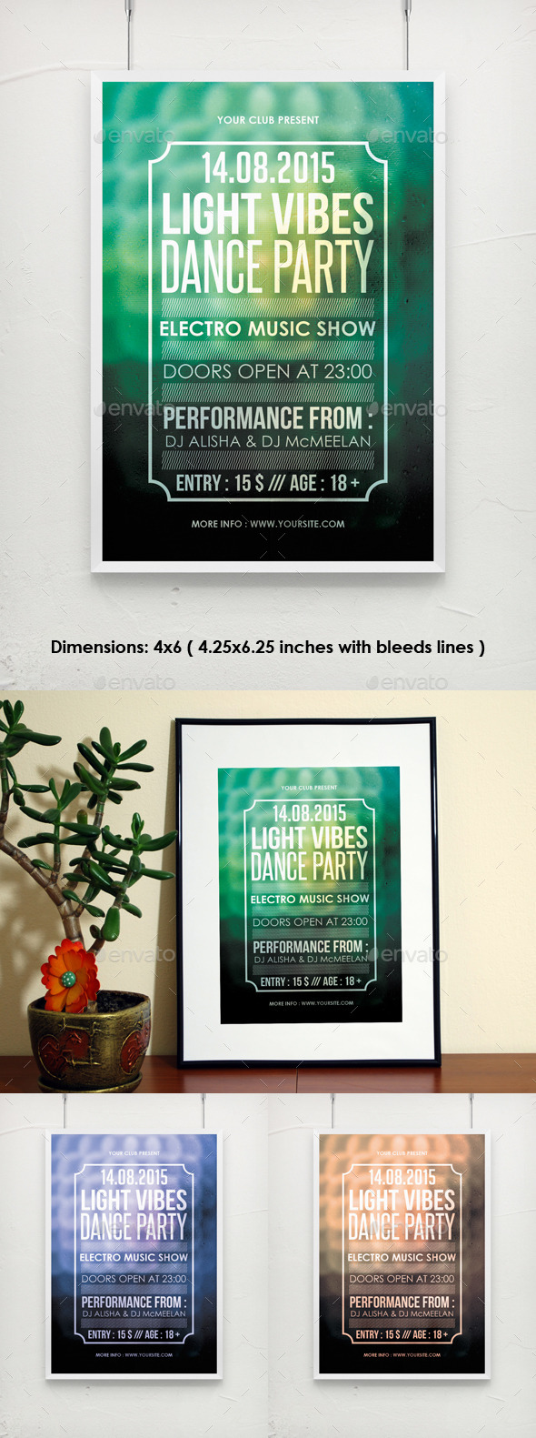 GraphicRiver Light Vibes Poster Flyer PSD Template 11908754