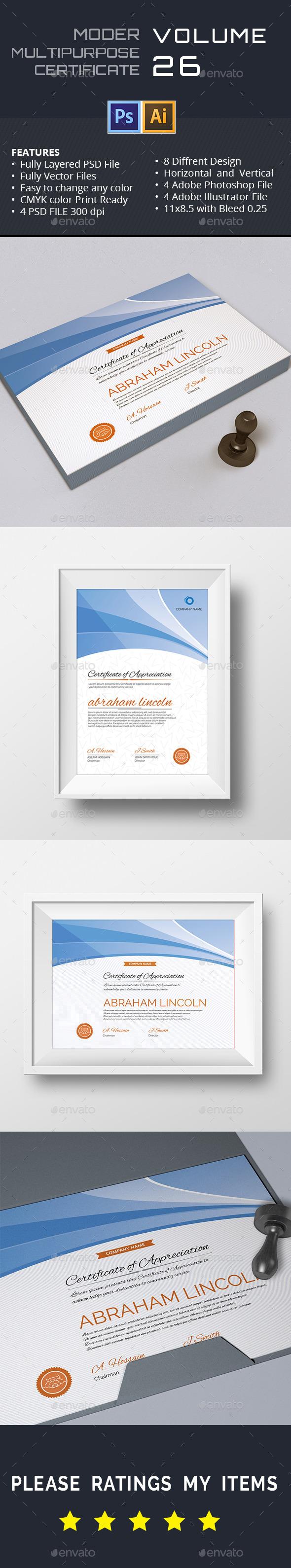 GraphicRiver Modern Multipurpose Certificate GD026 11908937