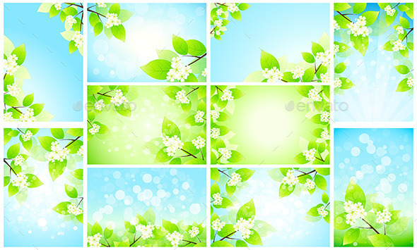 GraphicRiver Set of Backgrounds with Flowers 11909011