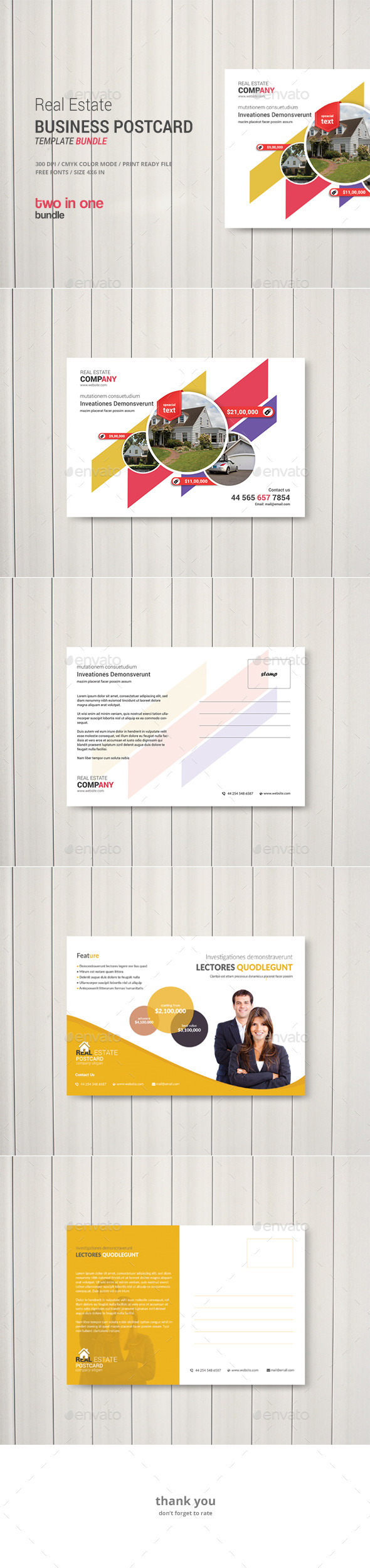 GraphicRiver Real Estate Business Postcard Bundle 2 in 1 11909234