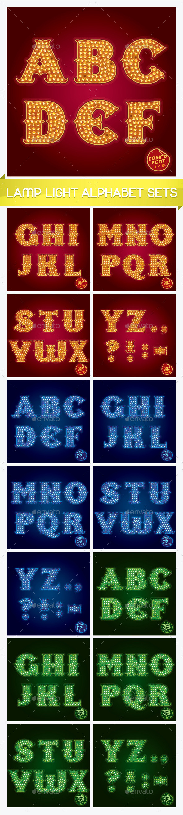GraphicRiver Lamp Light Alphabet Sets 11909806