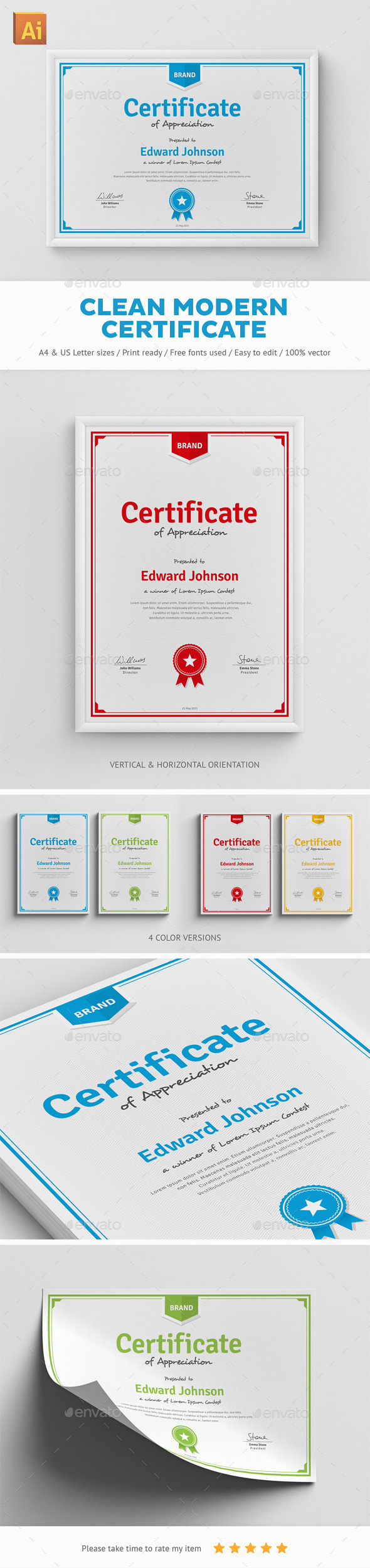 GraphicRiver Clean Modern Certificate 11911502