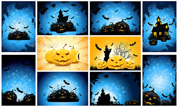 GraphicRiver Halloween Backgrounds Party Set 11912076