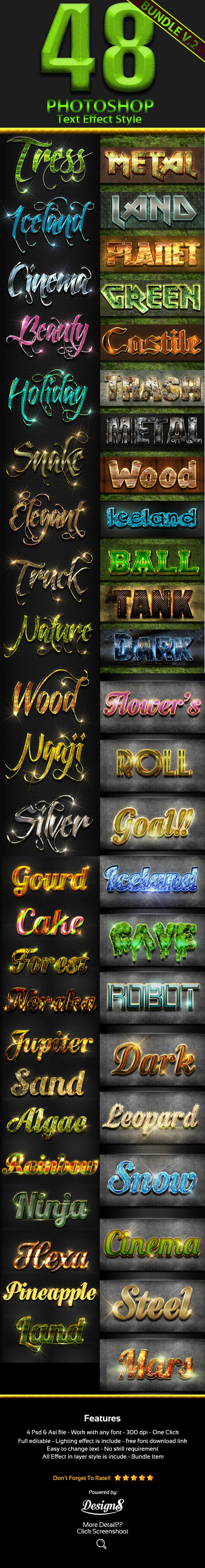 GraphicRiver 48 Photoshop Text Styles Bundle Part 2 11912118
