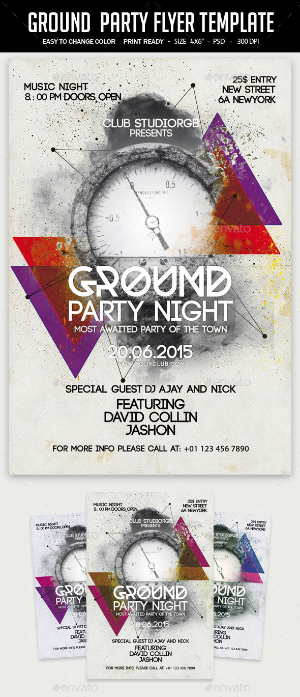 GraphicRiver Ground Party Flyer Template 11912137