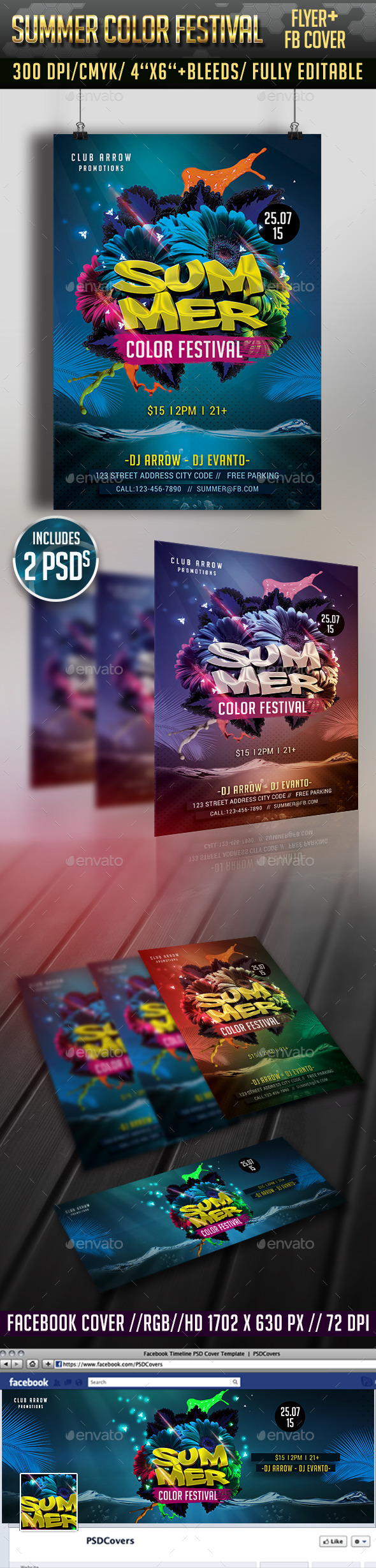 GraphicRiver Summer Color Festival Flyer & Facebook Cover 11912491