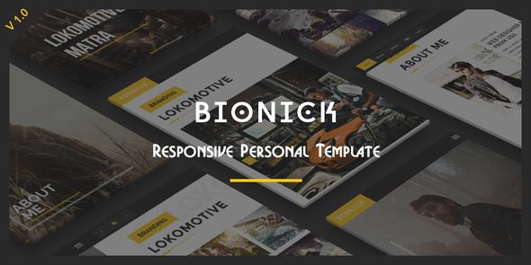 ThemeForest Bionick Responsive Personal Portfolio Template 11860143