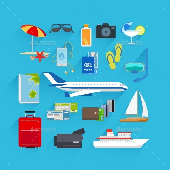 GraphicRiver Travel Flat Icons 11912902