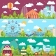 Flat Design Conceptual City Banners With Carousels - GraphicRiver Item for Sale