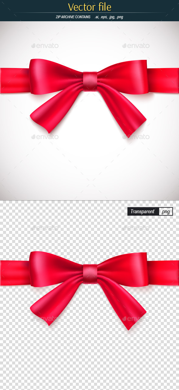 GraphicRiver Red Ribbon with Bow 11913415