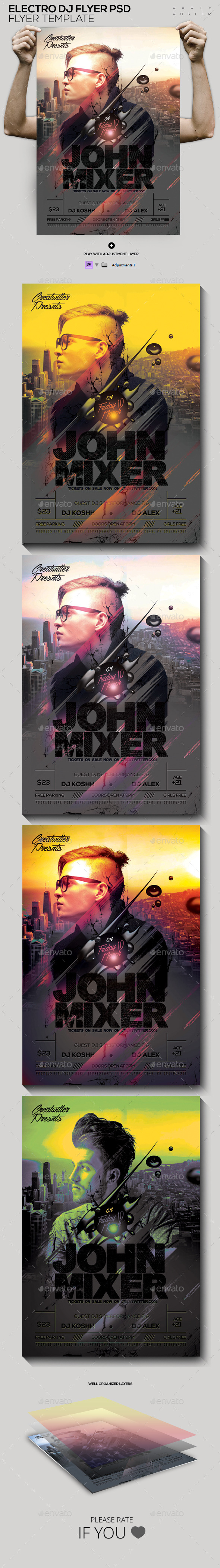 GraphicRiver Electro Guest DJ Flyer PSD 11913644