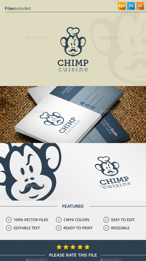 GraphicRiver Monkey Chef Logo 11909231